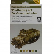 Weathering Set For Green Vehicles AFV Weathering System 8ml. Akrilna boja i Pigment